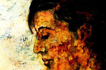 art colorful painting beautiful girl face and crackle background.