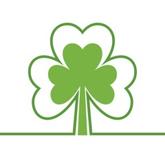 Abstract tree. Four leaf clover. Shamrock. Copy space. Isolated on white