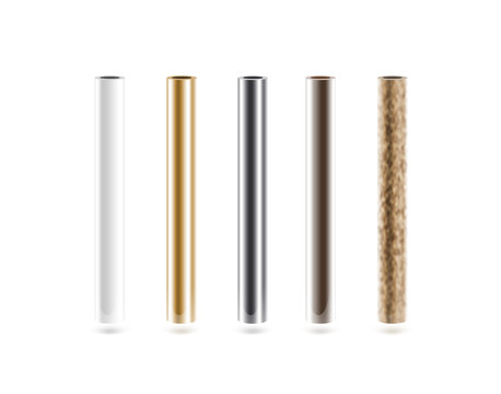 Metal pipes set isoalted on white. Shiny metallic cylinder pipe, silver, grey, golden, chrome, steel, rusty. Gold pole design. Glossy color stick gradient graphic design. Rust column tube with hole.