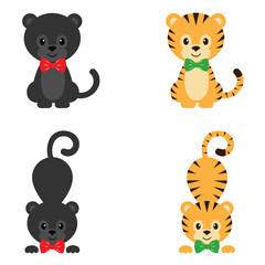 cartoon panther and tiger set