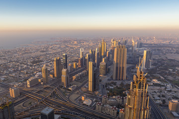 Aerial view of downtown in Dubai with blue sky
