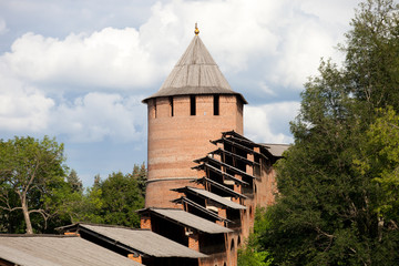 Kremlin wall and Boris-and-Gleb tower in Nizhny Novgorod, Russia