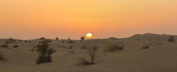 Sand dunes desert near Dubai with sunset. United Arab Emirates