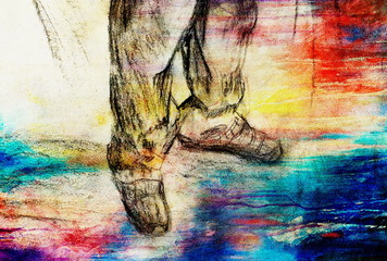 art drawing man legs and color abstract  background.