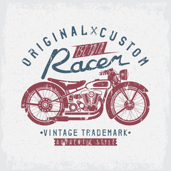 racer vintage vector grunge print with motorcycle and wrenches
