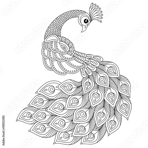 Peacock Adult Antistress Coloring Page Stock Image And