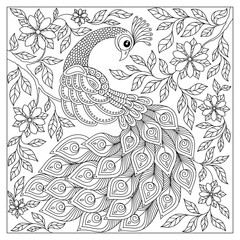 Vintage hand drawn pattern black and white doodle peacock.