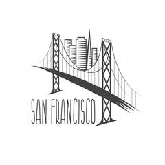 San Francisco-Oakland Bay Bridge and buildings vector illustrati