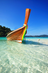 Long tail boat on the sea, Koh Lipe, Andaman sea, Thailand