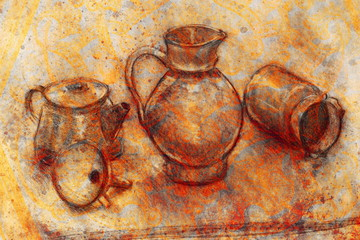 still life drawing. Original hand draw on paper. Teapot, jug, funnel and cans.