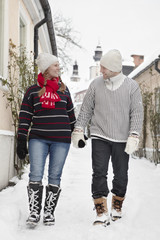 Couple walking together at winter