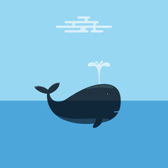 Whale Spraying Water. Concept of Marine Conservation.