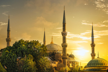 Detail of the Sultanahmet Mosque (Blue Mosque) at sunset