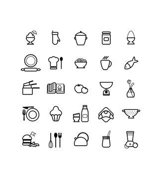 Cuisine, Cuisiner, Ustensiles, Nourriture, Manger, Restaurant, Pictos, Vectoriel, Pictogrammes, Restauration, Dessin