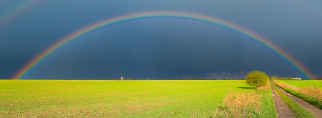 Regenbogen Regenbögen nach schwerem Unwetter und Sonnenschein von hinten