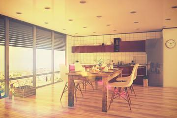 Moderne Küche in rot und einem gedeckten Frühstückstisch, in einem Loft. - Retro Style.