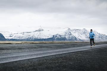 Man jogging in mountains