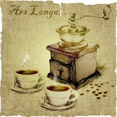 """hand drawing of grinder and two cups of coffee and the text """"Ars longa""""on the canvas"""