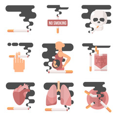 Icons about smoking, vector illustration Flete, the dangers of smoking, health problems due to smoking, pregnant woman, nicotine dangerous smoke, danger to life and limb due to nicotine