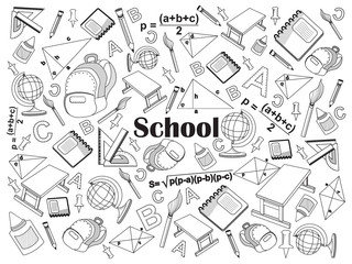 School colorless set vector illustration