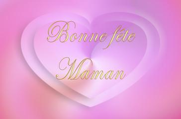 Bonne fête maman 2 coeurs roses
