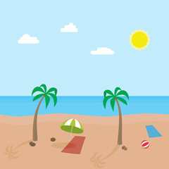 Tropic scene of sunny beach with different objects. Vector cartoon illustration.