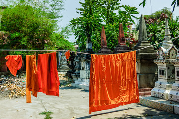Buddhist monks' robes hanging to dry