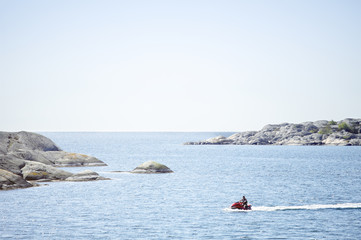Person on jet ski at sea