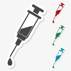 Multicolored paper stickers - Syringe and needle