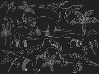 Dinosaur chalk vector for adults