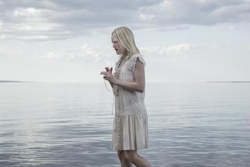 Teenage girl at sea