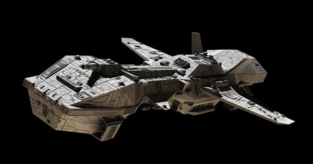 Science fiction illustration of an interplanetary gunship, isolated on black, side angled view, 3d digitally rendered illustration