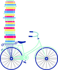 Vintage Bicycle with Books Stacked
