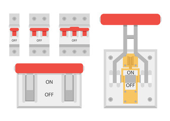 Circuit breakers set vector, Breakers switch vector flat, fuse vector, On/Off switch set, On/Off switch Icon vector flat