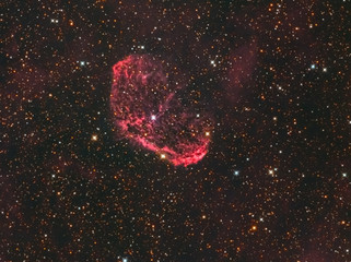 Emission Nebula called NGC 6888 or Crescent Nebula located in the constellation Cygnus in the Northern sky taken with CCD camera and medium focal length telescope