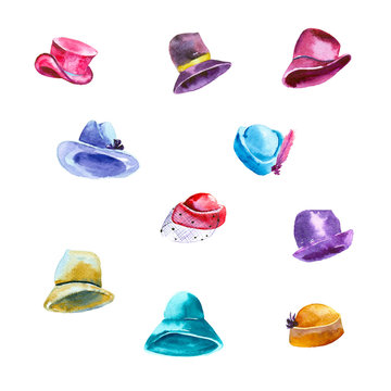 Watercolor painting. Set of women's hats on white background.