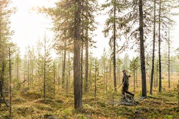 Hunter walking in forest