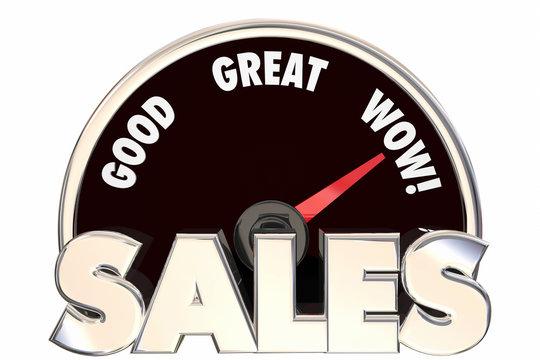 Sales Great Increase Improved Revenue Money Deals Speedometer 3d
