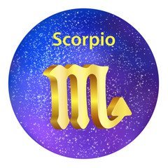 Sign of the zodiac Scorpio on the sky.