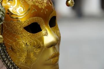 Golden Venetian carnival mask