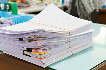 Close up of business documents stack, report papers stack