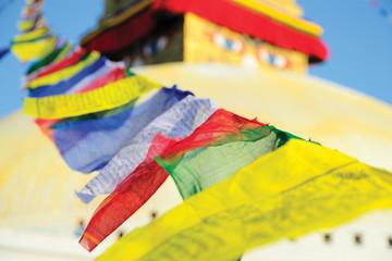 Boudhanath stupa surrounding with prayer flags, Kathmandu, Nepal