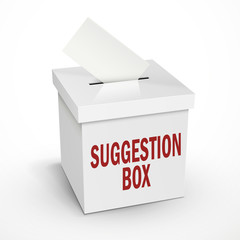 suggestion word on the 3d white voting box