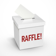raffle word on the 3d white voting box