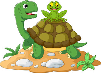 cartoon turtle and frog