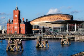 Pierhead and Millenium Centre buildings Cardiff Bay Fototapete