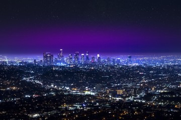 Los Angeles downtown city skyline at night