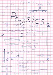 physics formulas drawing in school notebook vector illustration