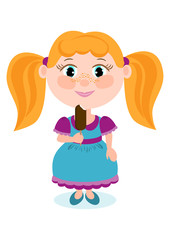 Pretty red haired girl with ice cream color. Clipart about the children.