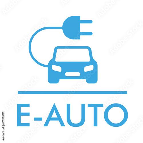 E-Auto Knopf mit Banner und Schaltplan\